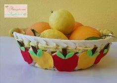 Cesto porta frutta, feltro, mele