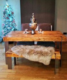 British-made-in-legno-massello-rustico-recuperata-tavolo-da-pranzo ...