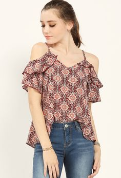 Floral Paisley Striped Off-The-Shoulder Top $16.99
