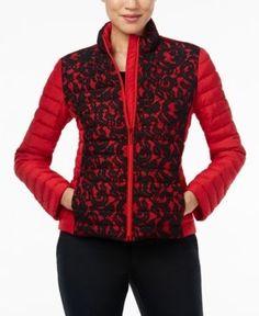 Michael Michael Kors Lace Puffer Jacket - Red XS