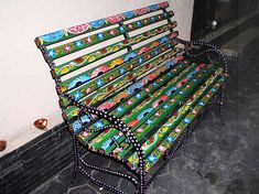 Look this awesome Garden bench Trellis Ideas 2542490845 Painted Benches, Whimsical Painted Furniture, Hand Painted Furniture, Funky Furniture, Colorful Furniture, Furniture Projects, Furniture Makeover, Garden Furniture, Funky Chairs