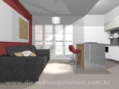 Sala com vermelho, cinza e madeira. http://dicasdearquitetura.com.br/solucoes-para-a-sala-vermelha-e-branca/