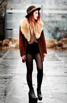 Leopard blouse- Lovers and Friends Shorts- Priceless Coat- Vintage via Tunnel Vision Shoes- Vic Italy Hat- Brixton