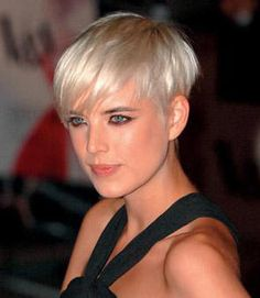 Great Fantastic Hairstyles & Haircuts: Light Blonde Hair with Blue Eyes In Pixie Crop by Agyness Deyn