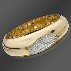"Roberto Coin ""Capri Plus"" Diamond Bangle Bracelet In 18kt Yellow Gold"