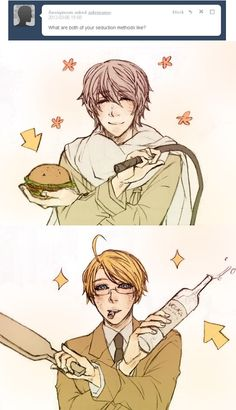 """Ask RusAme: """"What are both of your seduction methods like?"""" - by valzante - Hetalia - America / Russia"""