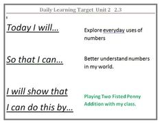 1 Everyday Math Daily Learning Targets Math learning targets for the year! Ready to print and post! Grade 1 Everyday Math Daily Learning TargetsMath learning targets for the year! Ready to print and post! Student Data Binders, Student Self Assessment, Assessment For Learning, Learning Targets, Learning Theory, Learning Goals, Formative Assessment, Learning Objectives, First Grade Math