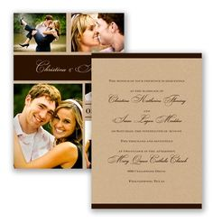 A fresh and contemporary design makes this kraft wedding invitation anything by ordinary! The two-sided, modern wedding invitation displays your wedding information elegantly on the front, with a fabulous personalized photo collage on the reverse side. Pictured in Chocolate, but available in additional colors.