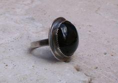 Black Onyx Oxidized Sterling Silver Boho by MissieRabdau on Etsy