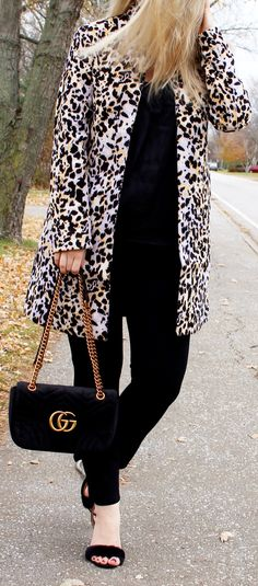 leopard print coat, gucci marmont velvet bag, fall fashion