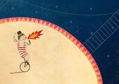 """il circo senza animali    illustrazione per la mostra """"il circo senza animali"""".  illustration for the exhibition """"circus without animals"""".  www.foglivolanti.org/Circo_senza_animali_Mostra.html"""