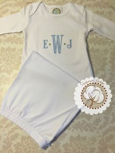 Mr mrs apronsfull kitchen apronmonogrammed kitchen apron infant gown going home outfit baby gown sleeper monogram baby gown boys baby gown baby boy monogram baby gift baby shower gift gown negle Gallery