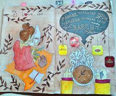 "79 Synes godt om, 5 kommentarer – Ксюша (@_art_ksyusha_) på Instagram: ""#wtj #wreck_this_journal #разлей_расплескай_накапай_размажь_свой_кофе_сдесь #чай #девушка #акварель"""