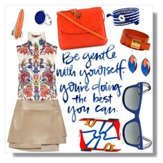 """Orange + Blue"" by cherieaustin on Polyvore featuring Just Cavalli, Helmut Lang, Proenza Schouler, Pierre Hardy, Amélie Pichard, Ray-Ban, StyleRocks and Mahnaz Ispahani"