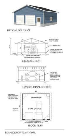 2 Car Garage plan with Automotive Lift x By Behm Designs Expert in. - 2 Car Garage plan with Automotive Lift x By Behm Designs Expert in Garage Designs. We offering wide range in Garage Plan in all size and style. For More Details call us Garage Plans Free, Garage Plans With Loft, Garage Workshop Plans, Plan Garage, Car Workshop, Free Plans, Garage Door Framing, Garage Door Sizes, Pole Barn Garage