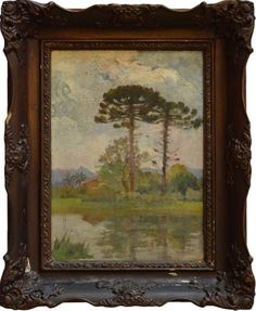 Joaquim Miguel Dutra - Paisagem com araucaria - Óleo sobre madeira - 33 x 45 cm