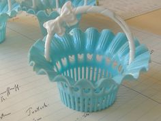 vintage favor basket - didn't know they did this in glass  but remember them in plastic for birthday parties as a kid.