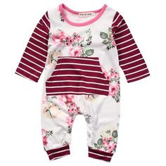 a98b6fcfe 2017 New Floral Romper Infant Bebes Boy Girl Clothes Long Sleeve Newborn  Jumpsuit One Pieces Outfit