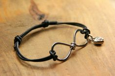 Hammered Silver and Leather Infinity by AllowingArtDesigns on Etsy, $20.00