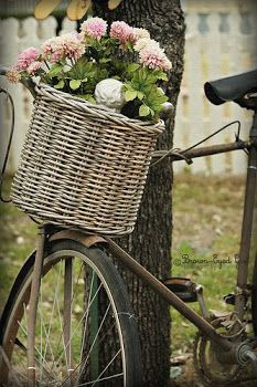 Wicker basket on old bike Bicycle Decor, Bicycle Basket, Bicycle Art, French Country Style, Country Life, Old Bikes, Vintage Bicycles, Basket Weaving, Wicker Baskets