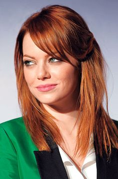 Twist and pin back a few strands on one side to form a sexy sweep that gently frames your features, like #EmmaStone. http://www.instyle.com/instyle/package/general/photos/0,,20276967_20593246_21149541,00.html