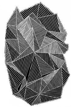 Autor: Naufus Ramírez-Figueroa // Guatemala // Cuerpo geométrico #16 // Xilografía y tinta/papel algodón.