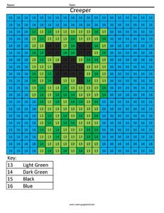 Minecraft Creeper- Color by Number