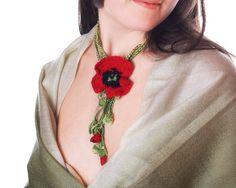 crochet poppy necklace