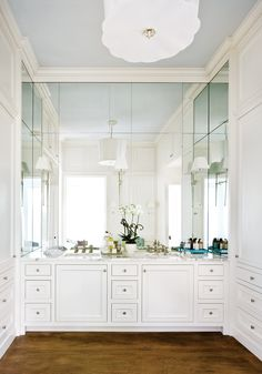 all white + mirrored powder room and vanity // bath Atlanta Homes & Lifestyles
