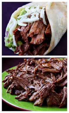 Slow Cooker Shredded Beef Tacos -- I'll take these any day over chipotle. Easy to make. full of amazing flavor. and this shredded beef is great for leftovers!