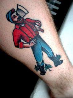 Bold Little Lumberjack Tattoo by Last Sparrow Tattoo
