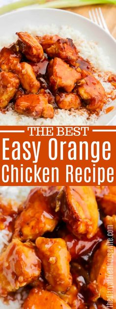 This is my favorite chicken recipe! Easy orange chicken that the family loves for dinner. chicken dinner Easy Orange Chicken - The Diary of a Real Housewife Baked Orange Chicken, Healthy Orange Chicken, Orange Chicken Crock Pot, Easy Orange Chicken Recipe Crockpot, Orange Chicken Marinade, Chinese Orange Chicken, Chinese Food, Easy Healthy Recipes, Kitchens