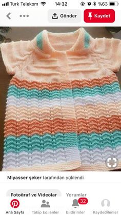 Baby Knitting Patterns, Crochet Patterns For Beginners, Knitting Stitches, Knitting Designs, Baby Patterns, Chevron Crochet Blanket Pattern, Crochet Coaster Pattern, Baby Vest, Baby Cardigan