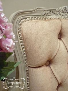 Bedroom Chair (detail) - @Annie Compean Sloan Country Grey with fabric painted in Old Ochre #chlakpaint #morethanpaint