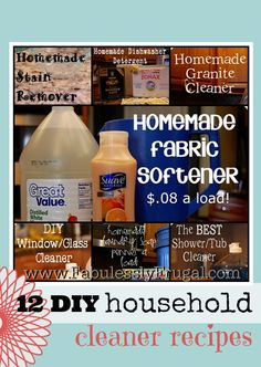 A collection of homemade DIY cleaner recipes including homemade fabric softener, homemade stain remover, homemade soap scum remover, and more!