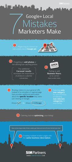 7 Google+ Local Mistakes Marketers Make - #SocialMedia #Infographic #GooglePlus