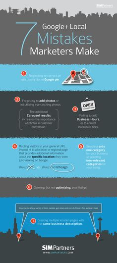 7 Google+ Local Mistakes Marketers Make / 7 erreurs courantes sur Google + à ne pas commettre #googleplus #infographic #google+ #pikock www.pikock.com #socialmedia #business #marketing #smm
