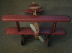 Vintage Ride On Airplane Toy - Wooden Great Photography Prop