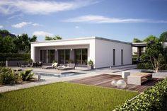 Fertighaus Architektenhaus Finess, kubistischer Bungalow mit Flachdach