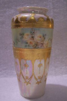 antique limoges France gold enameled vase