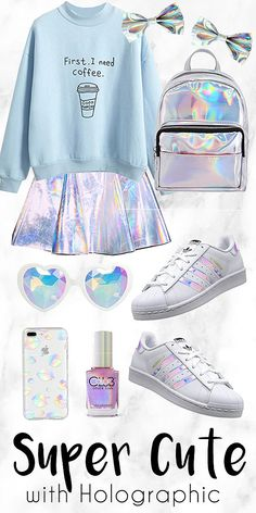 Fashion outfits - Look Super Cute with Holographic Cute Girl Outfits, Teen Fashion Outfits, Outfits For Teens, Trendy Outfits, Summer Outfits, Kawaii Fashion, Cute Fashion, Kids Fashion, Womens Fashion