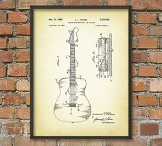 Guitar Bridge Patent Wall Art Poster by QuantumPrints on Etsy