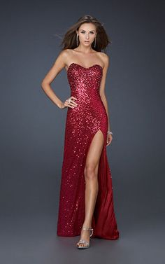 Red sparkly Evening Dress | La Femme 17526 Red Sparkly Long Sexy Prom Dress... | StyleCaster