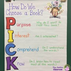 "This I PICK anchor chart is just what your students need to support choosing a ""Just Right"" book during The Daily 5! #reading #daily5 #ela #literacy #anchorchart"