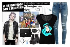 """""""10 days with 5sos: 6. Disneyland with Mikey"""" by carolinedarcy ❤ liked on Polyvore featuring Yves Saint Laurent, OPUS Fashion, Disney, Aspinal of London and Frye"""