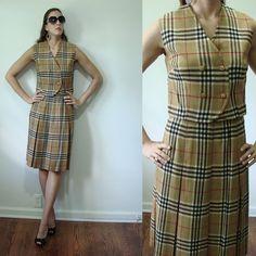 Vintage 1960s Burberry Look Wool Two Piece SUIT United Togs Kilt & Vest Small by MyGrayCatVintage, $35.00