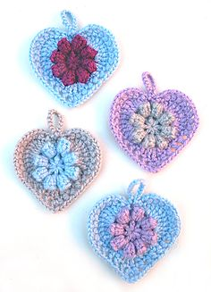 Crocheted Heart Ornaments With Flower Center