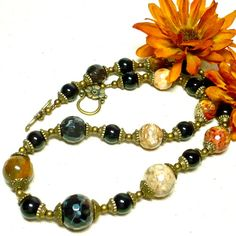 African Jasper with Black Agate and Antique Brass 20 Inch Necklace  | KatsAllThat - Jewelry on ArtFire