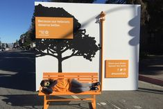 A Pop Art-style diorama at the United Way of Greater Los Angeles HomeWalk event showed a park with a 3-D bench, designed to represent a common plight of homeless veterans in town.