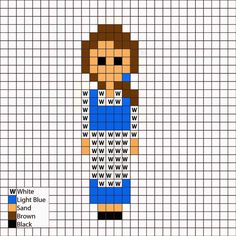 Beauty and the Beast, Belle in blue dress - Perler Mania Pattern